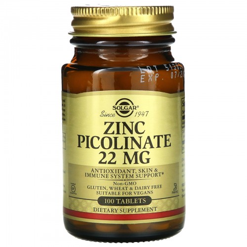 "SOLGAR - "" ПИКОЛИНАТ ЦИНКА 22 mg"" (100 таб.)"