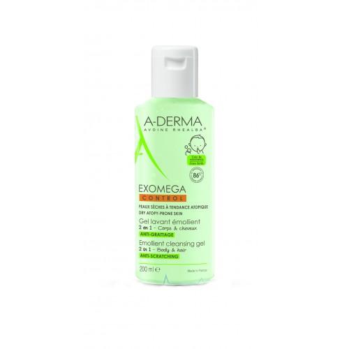 A-DERMA Exomega Control Очищающий гель 2в1 для волос и тела (200 мл)