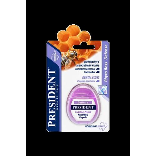 PRESIDENT Defense зубная нить фитофлосс с пропиткой зубной пастой