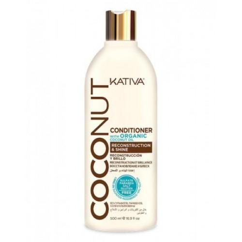 Kativa Coconut Восстанавливающий кондиционер с органическим кокосовым маслом для поврежденных волос  (500 мл)