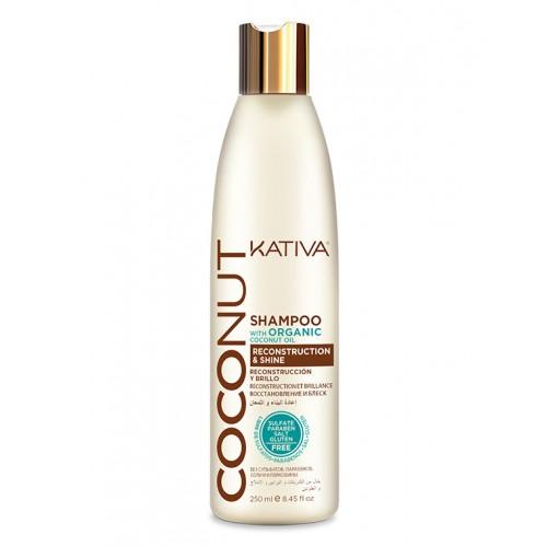 Kativa Coconut Восстанавливающий шампунь с органическим кокосовым маслом для поврежденных волос  (250 мл)